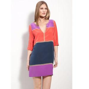 BCBG MaxAzria Aidas Silk Colorblock Dress